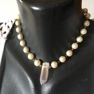 AB Quartz Crystal & Pearl Station Necklace